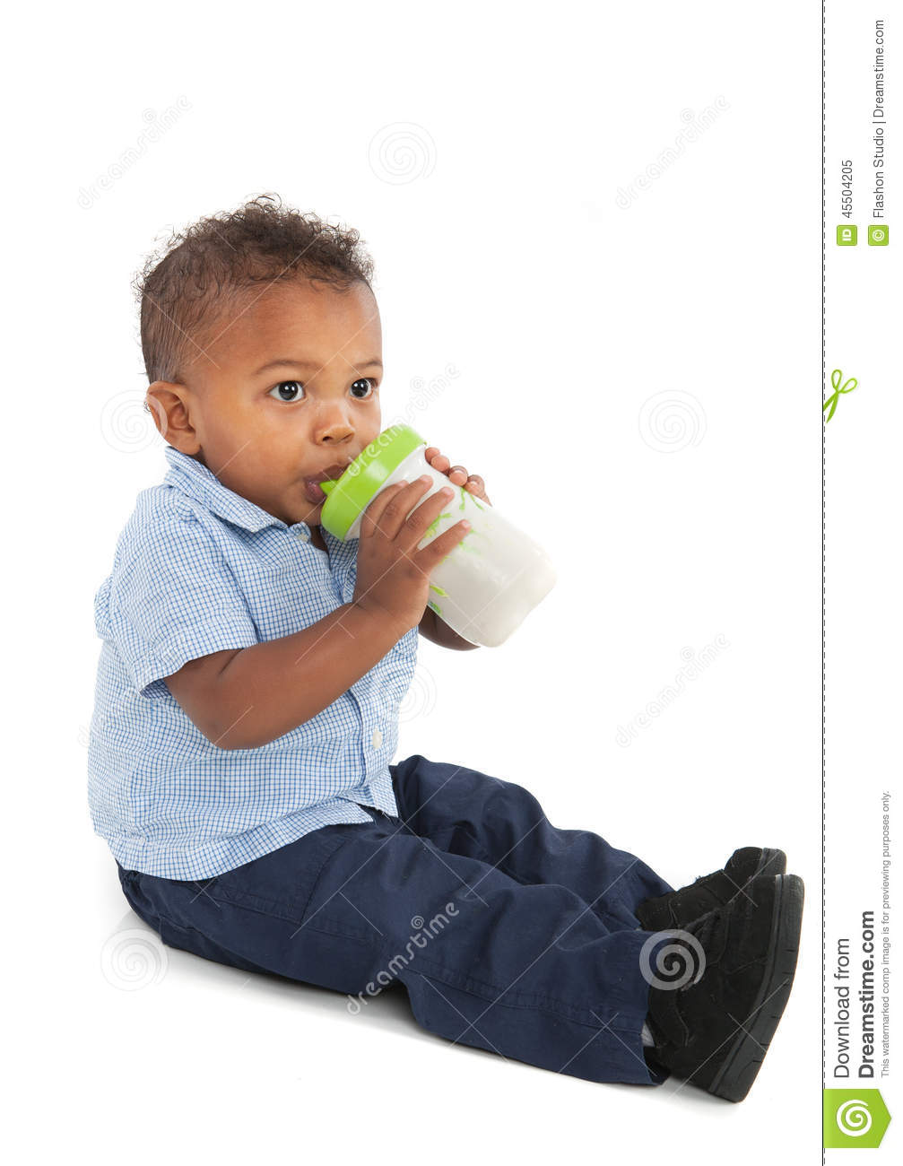 African american baby boy drinking milk with bottle stock photo image 45504205 - African american baby boy pictures ...