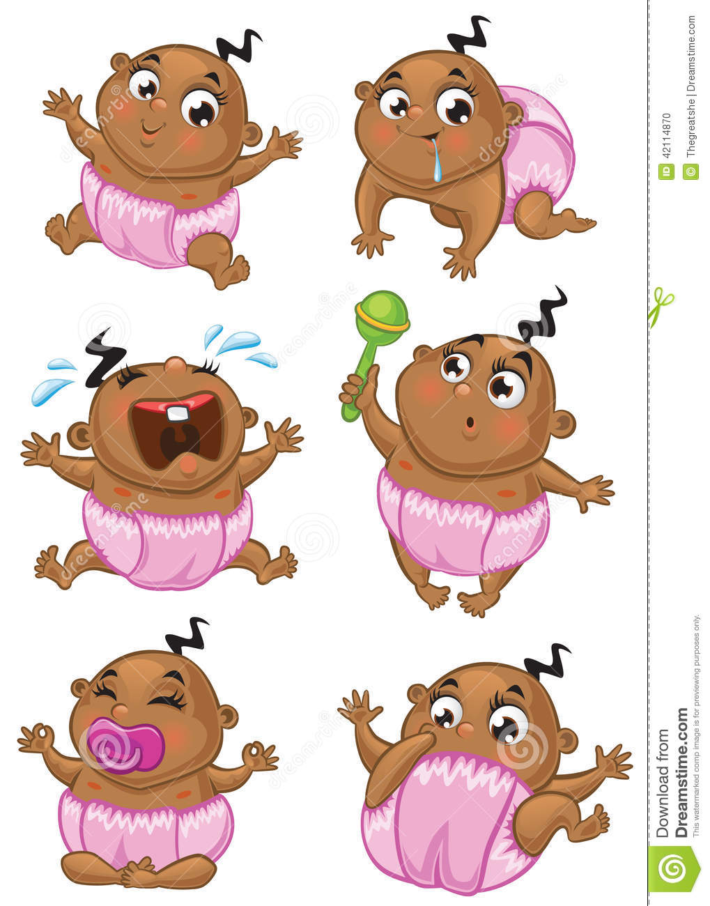 African american baby girl stock vector. Illustration of ...