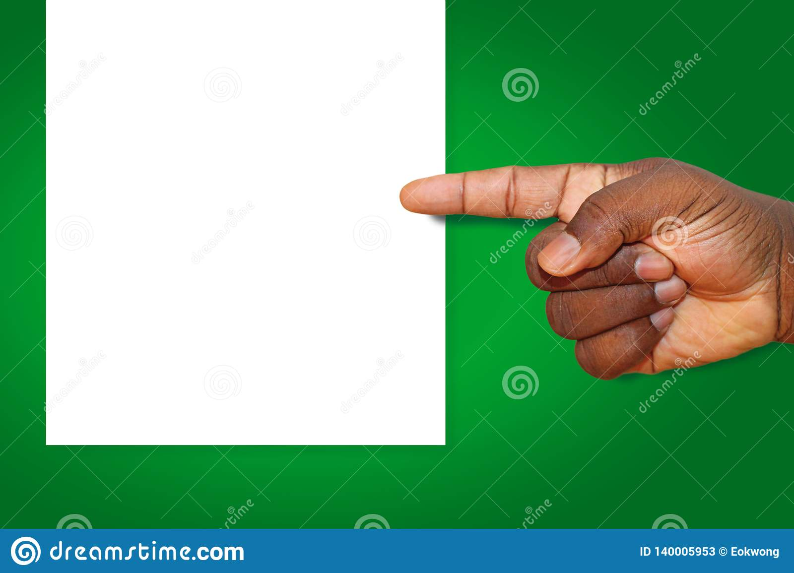 African American, Black Man Hand Pointing left at a blank sheet of paper