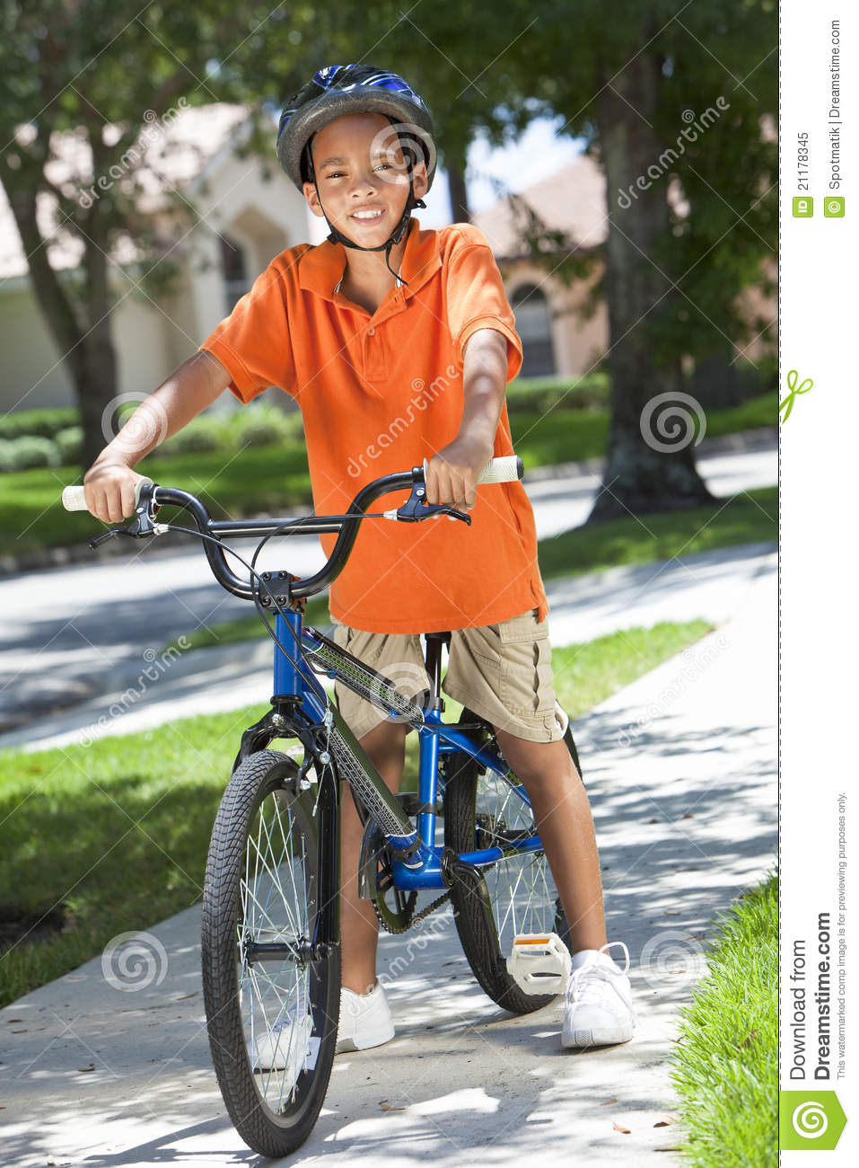 African American Boy Child Riding Bike