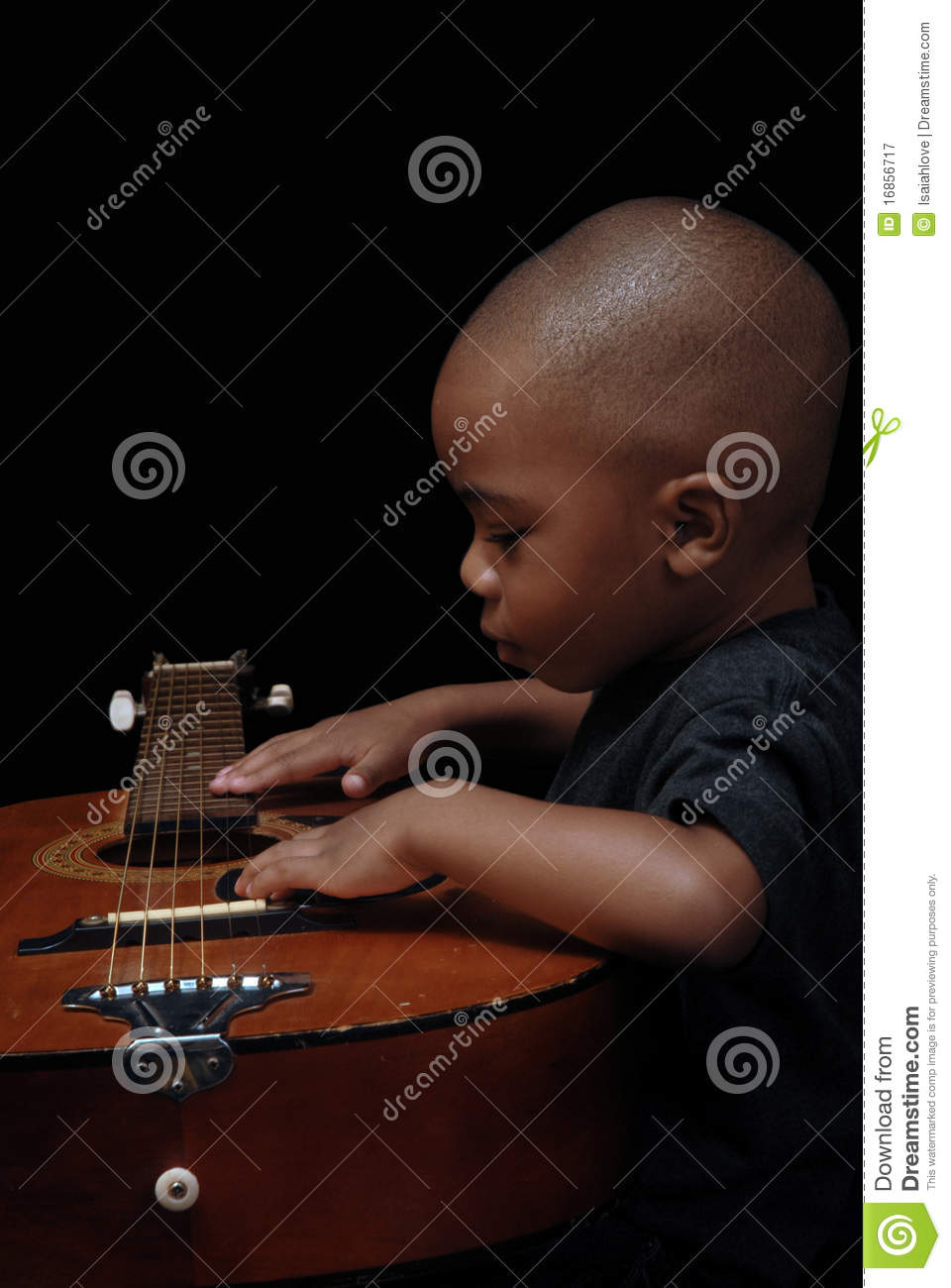 African American Boy Play Guitar Royalty Free Stock