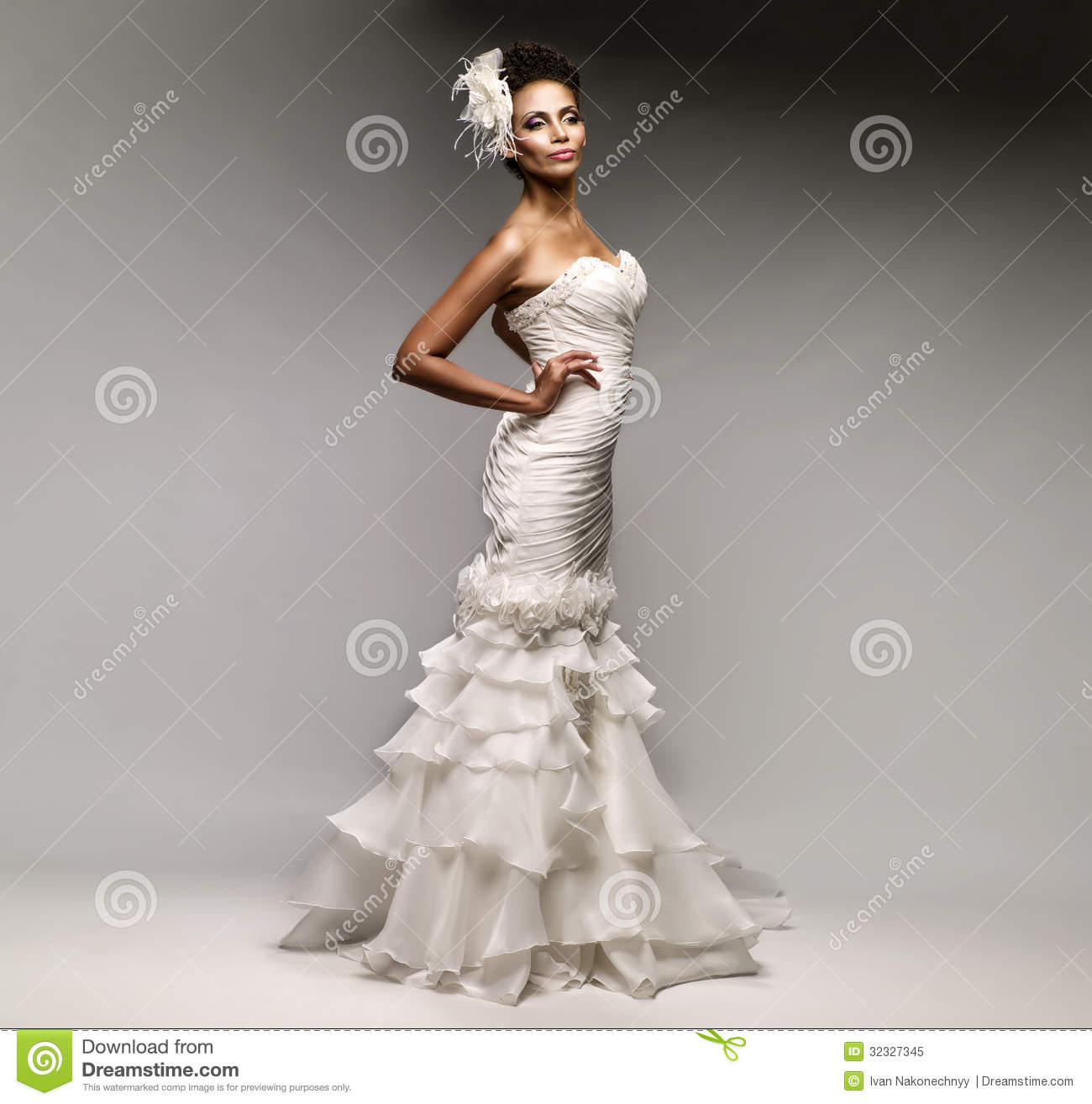 royalty free stock photo african american bride dress white background image african american wedding dresses African American bride