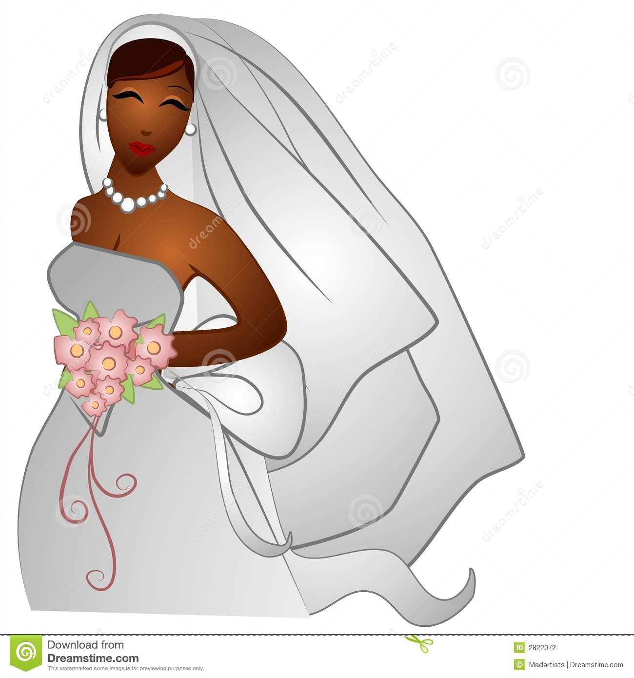 African American Bride Smiling Stock Illustration