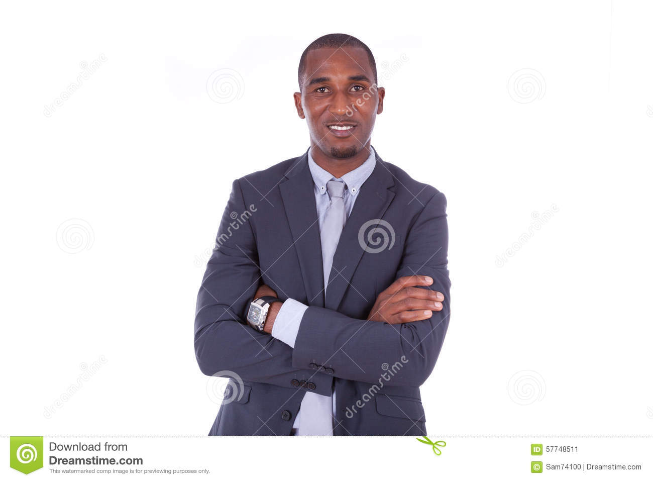 African american business man with folded arms over white backgr