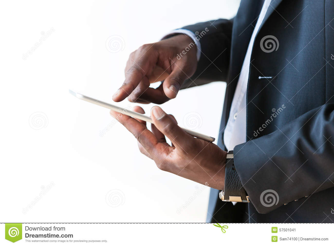 african american business man using a tactile tablet over. Black Bedroom Furniture Sets. Home Design Ideas