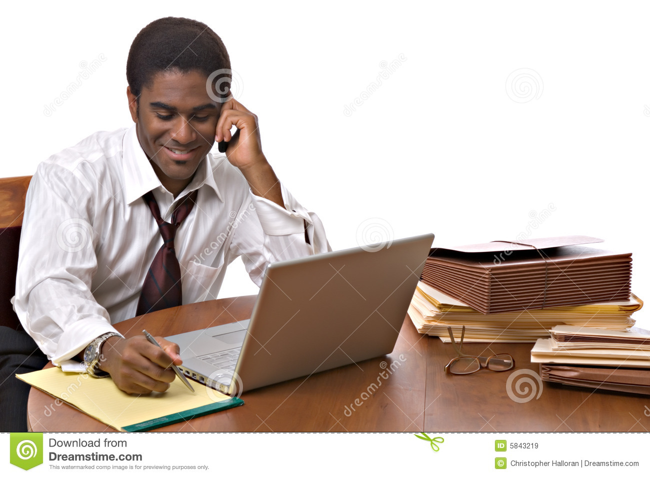 African-American businessman working on laptop