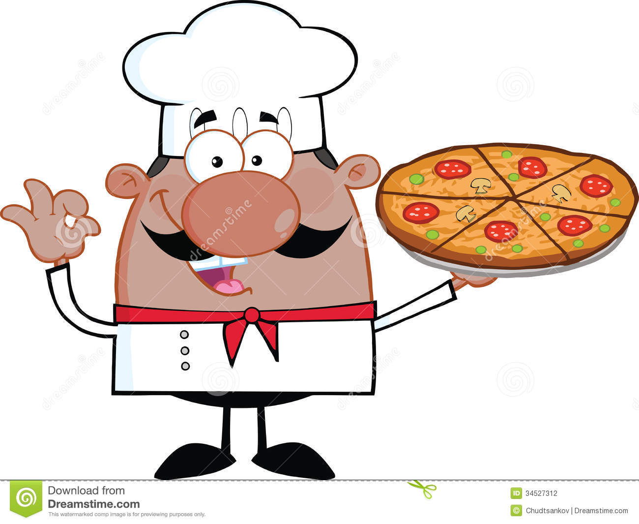 African American Chef Cartoon Character Holding A Pizza