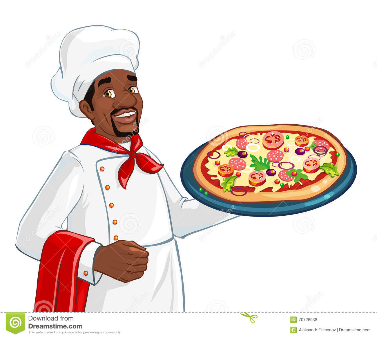 African American Chef With Pizza Stock Vector Image