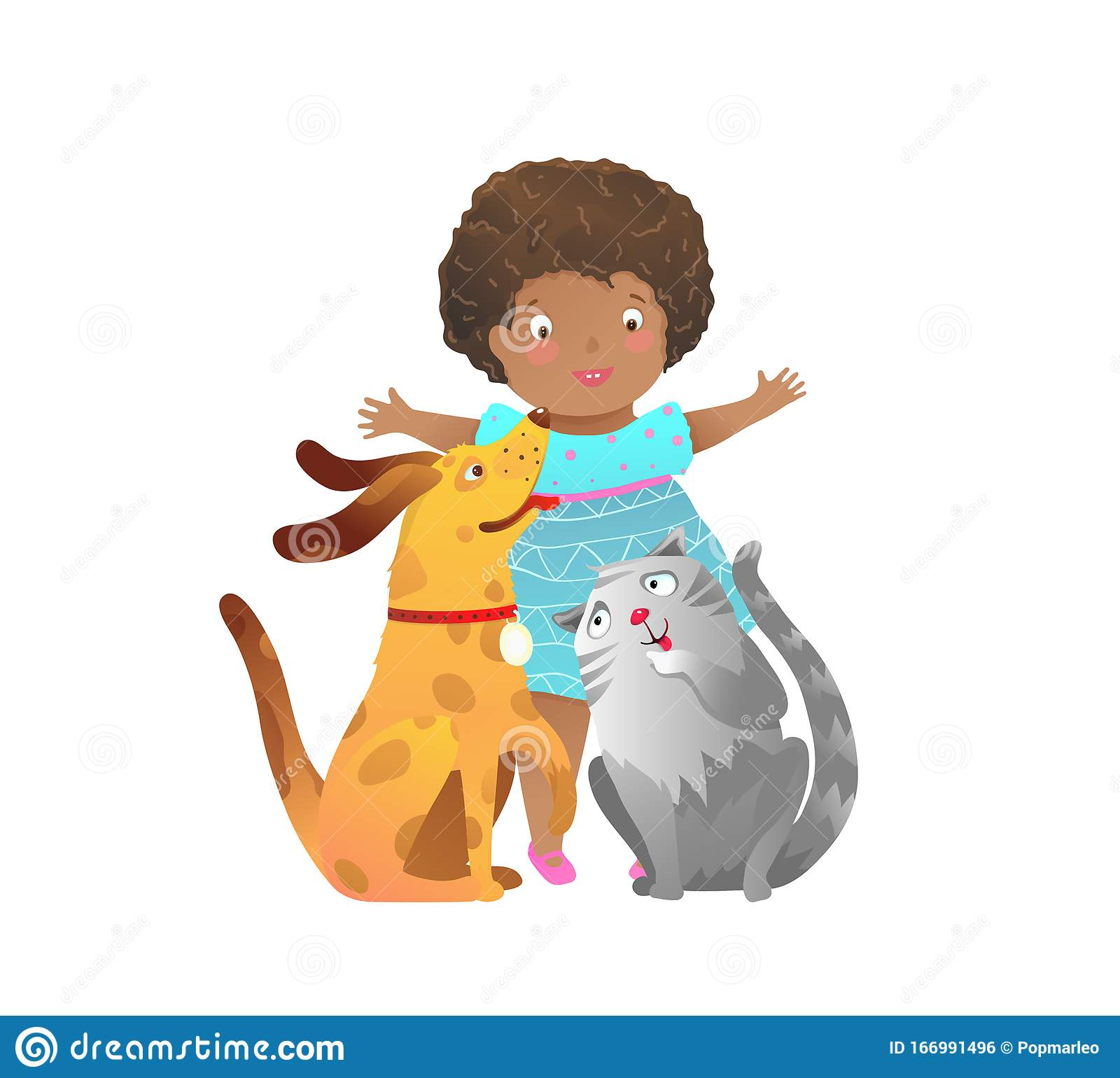 African American Child Girl With Cat And Dog Playing Together Happy Friends Stock Vector Illustration Of Kitten Game 166991496