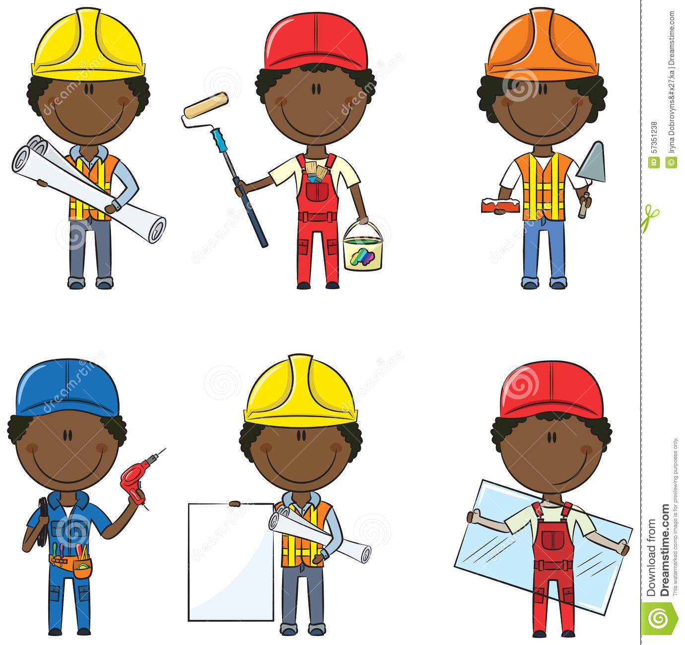 african american construction workers stock vector image House Painter Clip Art Female Painter Clip Art