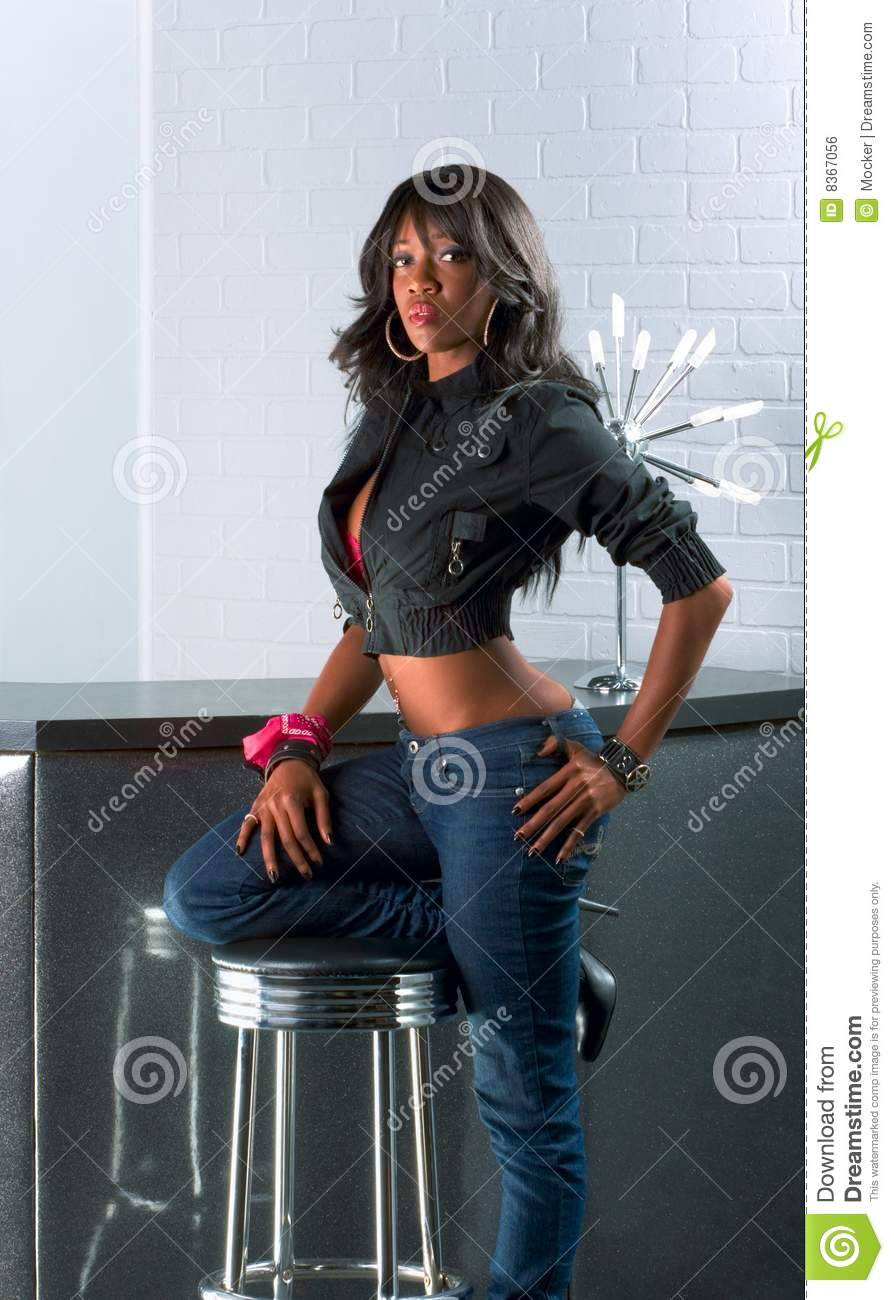 African american counter standing urban woman