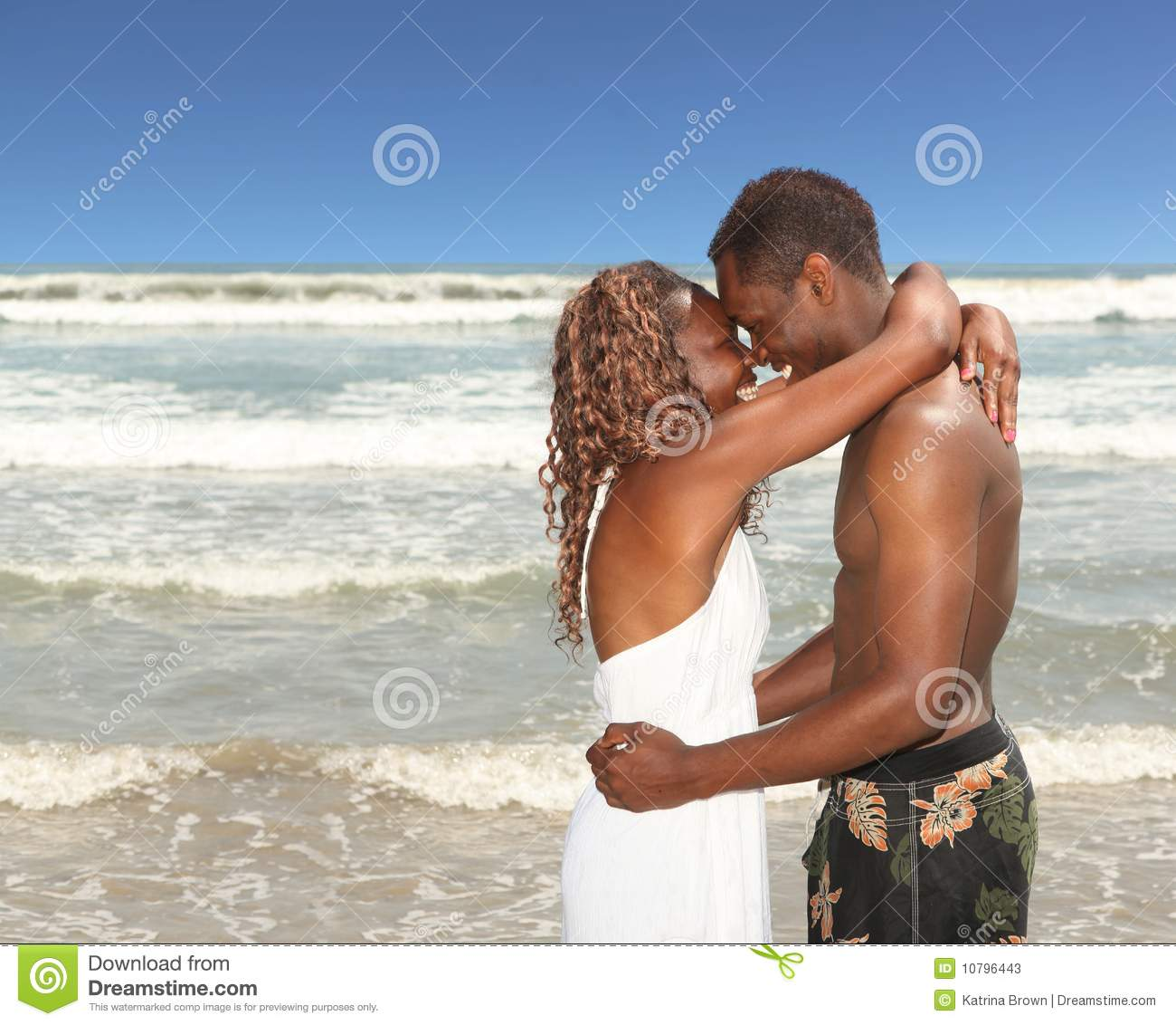 Couple At The Beach Stock Image Image Of Caucasian: African American Couple On The Beach Happy And In Stock