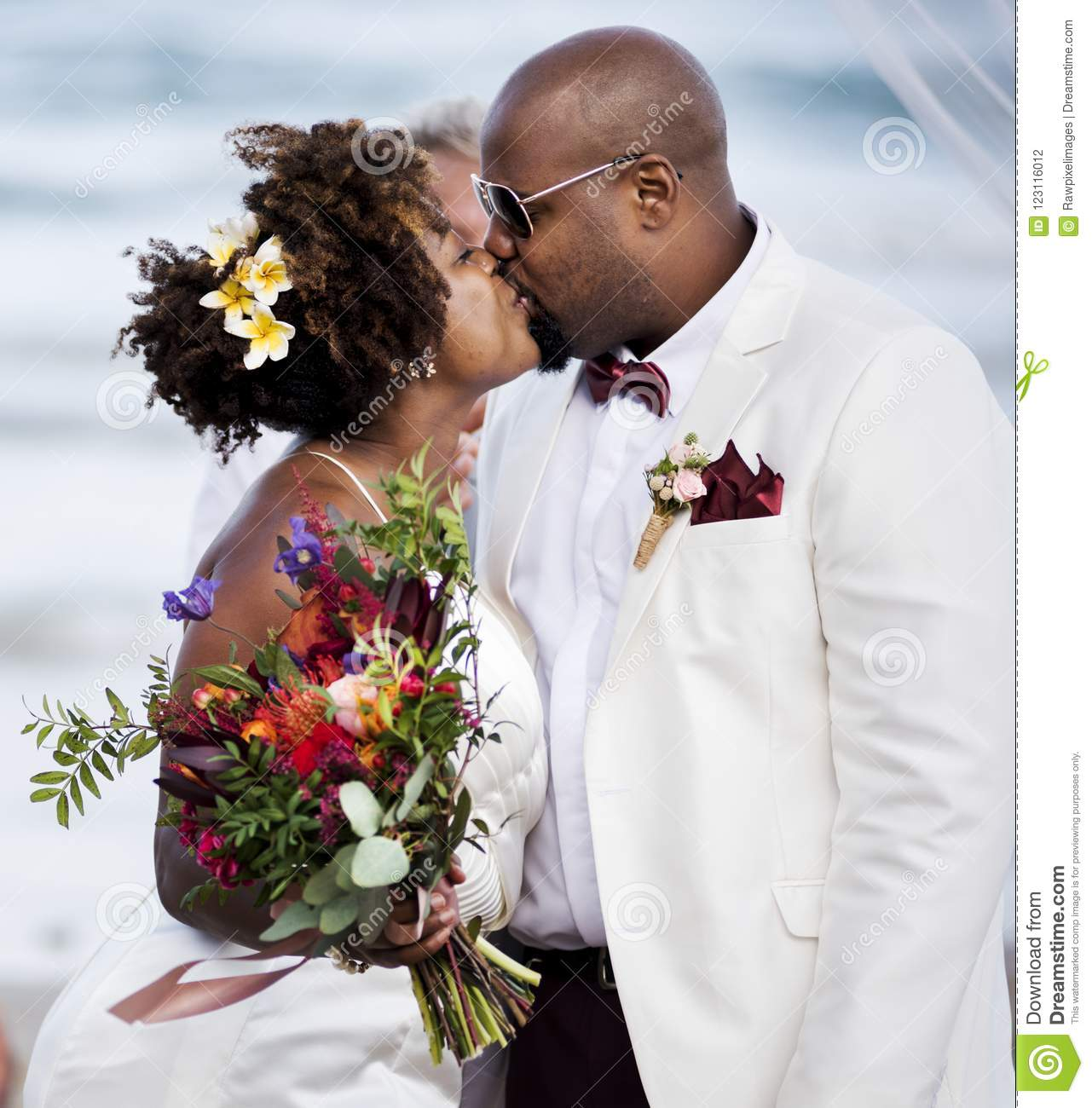 Couple At The Beach Stock Image Image Of Caucasian: African American Couple Getting Married At The Beach Stock