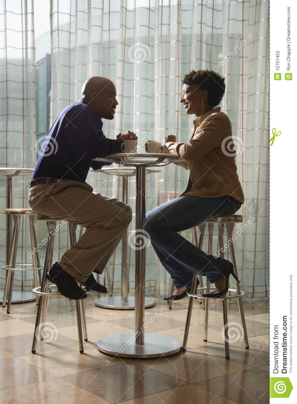 African-American Couple Having Coffee at Cafe