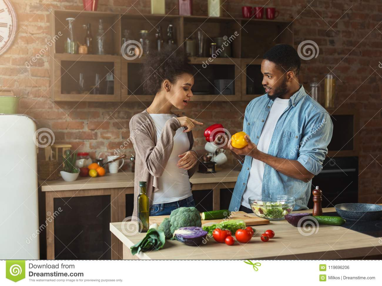 Download African-american Couple Preparing Healthy Salad Stock Photo - Image of home, fresh: 119696206
