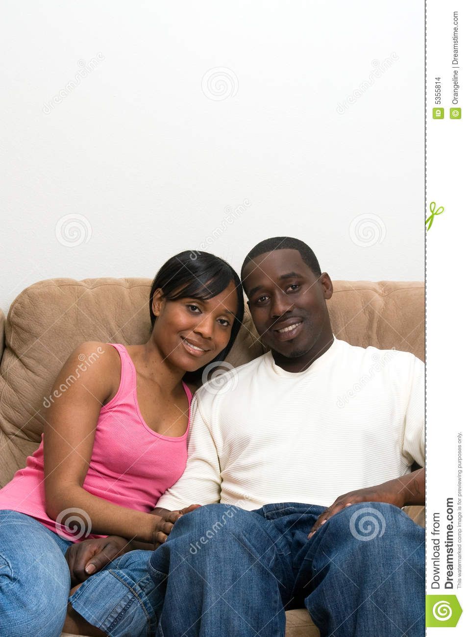 African American Living Room Apartment Decor: African American Couple In Their Living Room Stock Image