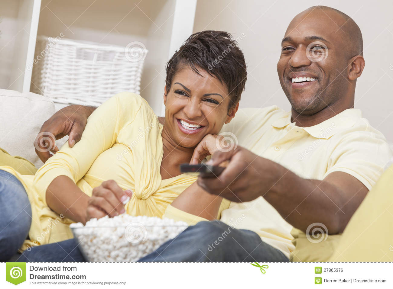 African American Couple Watching Television Stock Photo ...
