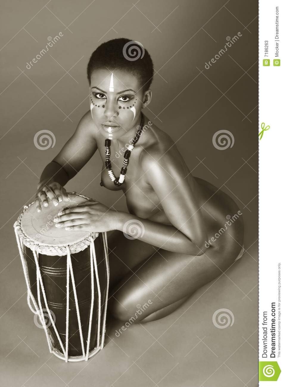 African american drums indigenous nude woman