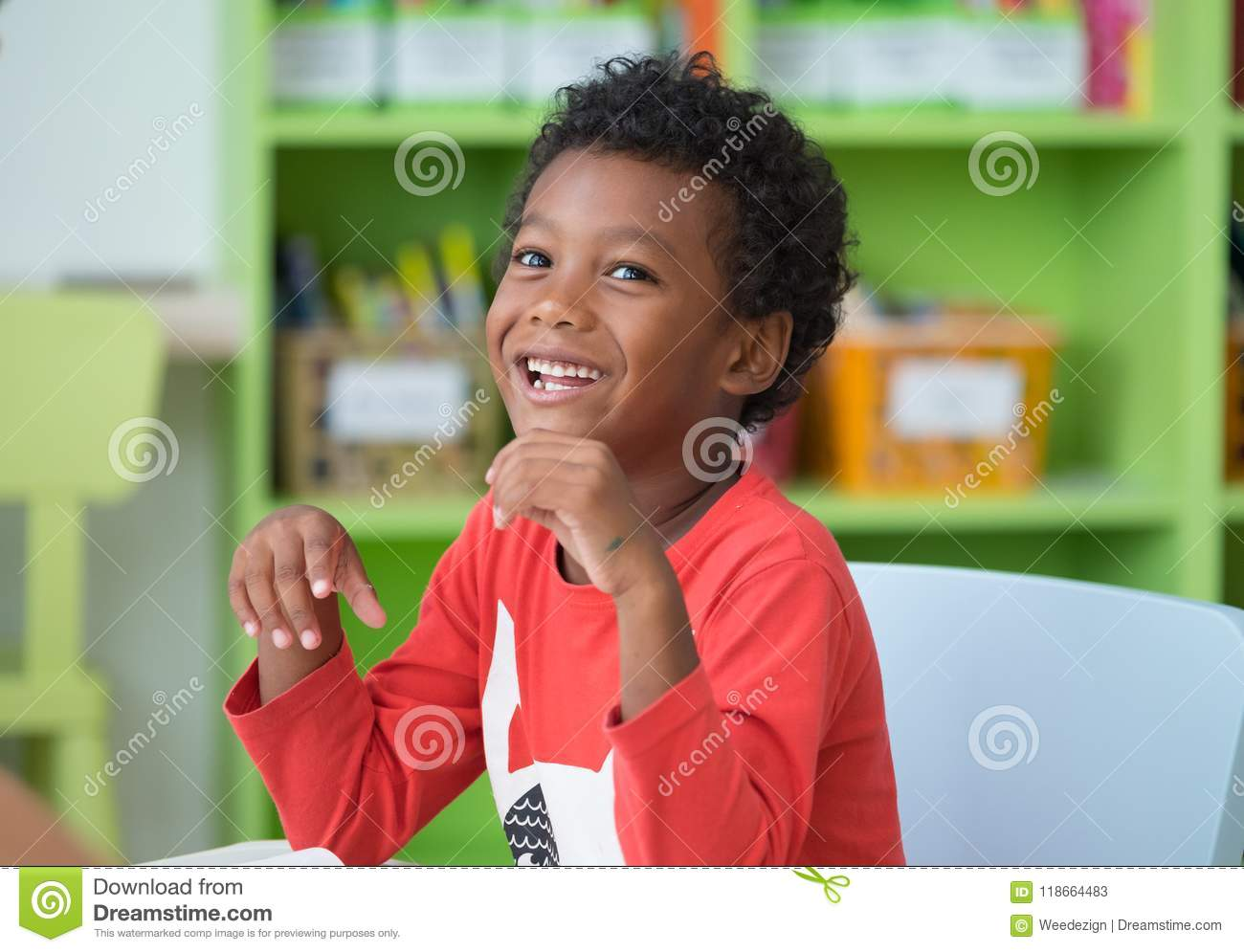 Download African American Ethnicity Kid Smiling At Library In Kindergarte Stock Image - Image of colorful, drawing: 118664483