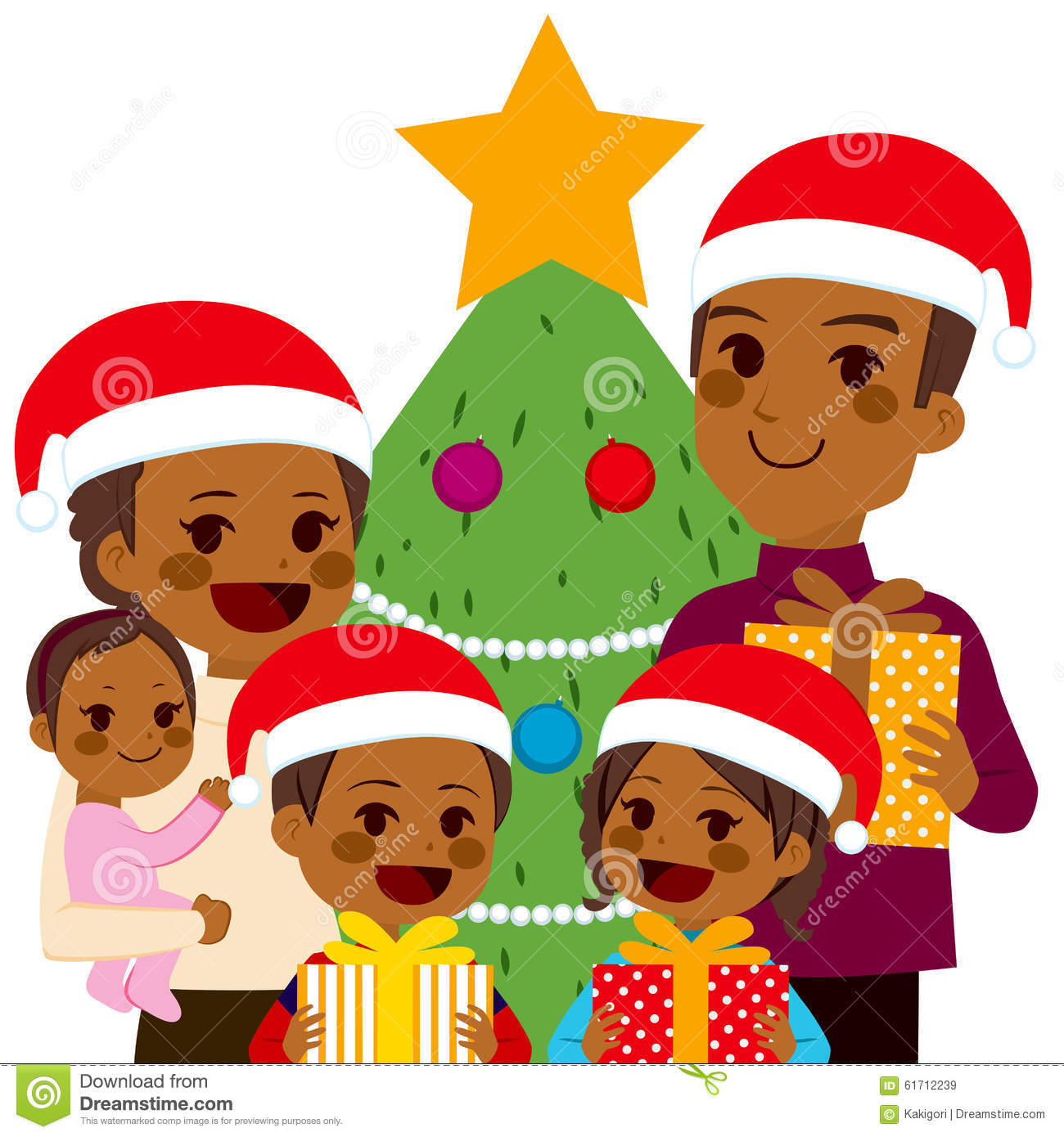 African American Family Celebrating Christmas Stock Vector ...