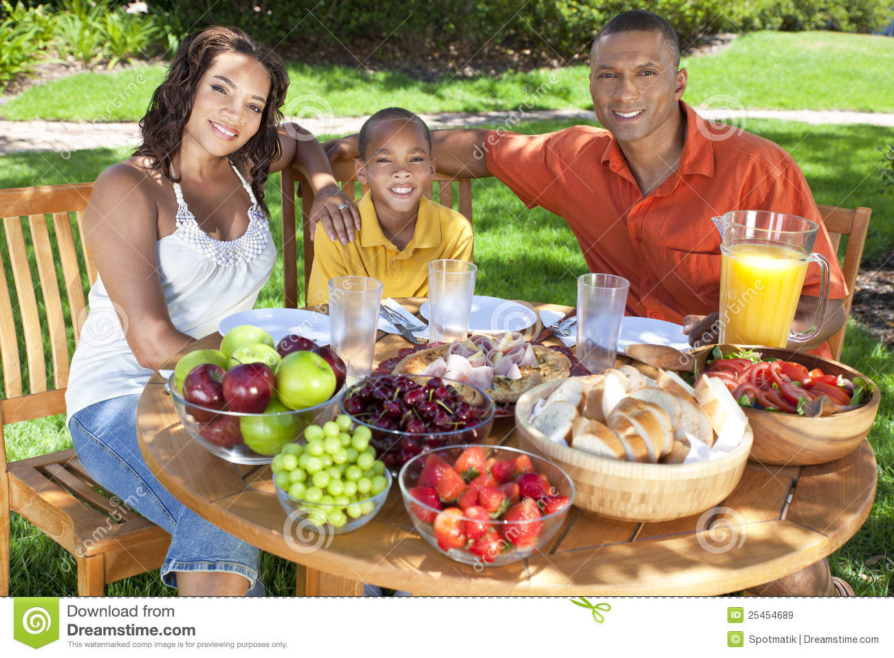 Family eating outside images for African american cuisine