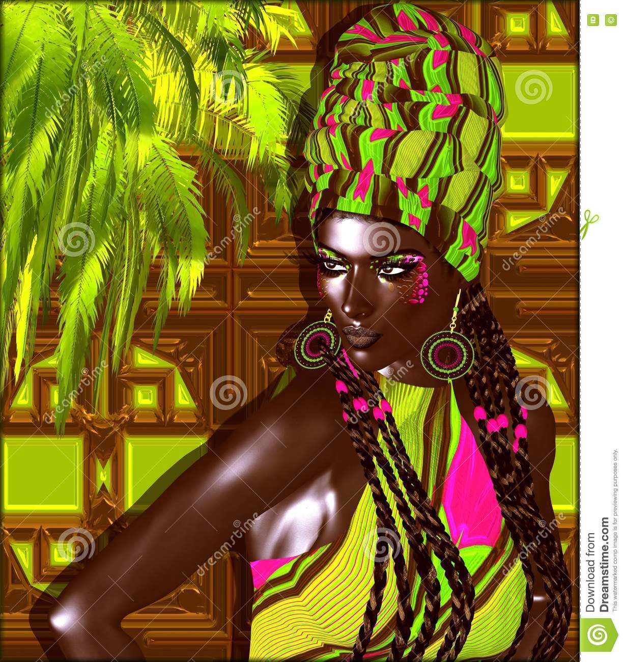 African American Fashion Beauty. A stunning colorful image of a beautiful woman with matching makeup, accessories and clothing