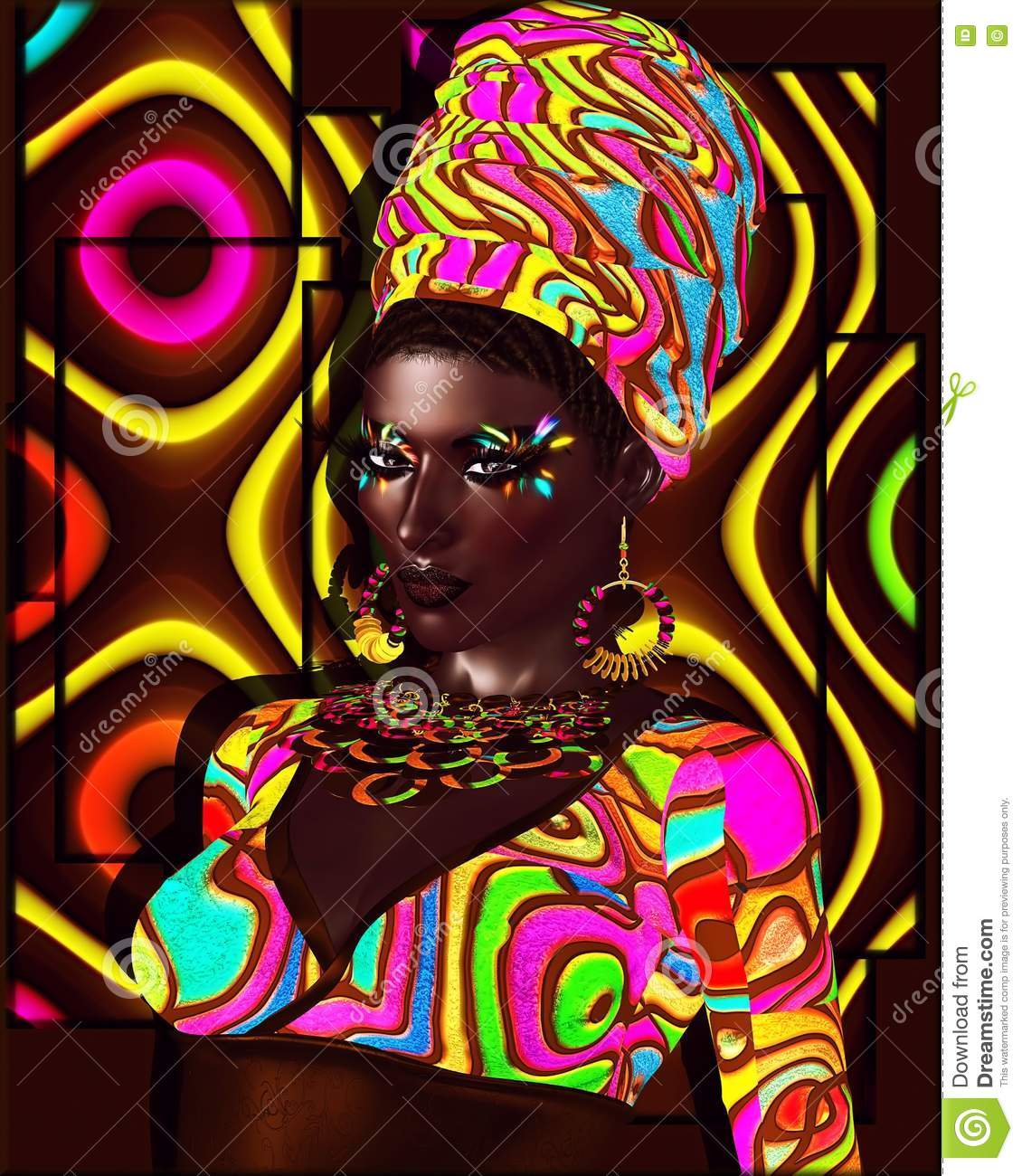 African American Fashion Beauty. A Stunning Colorful Image ...