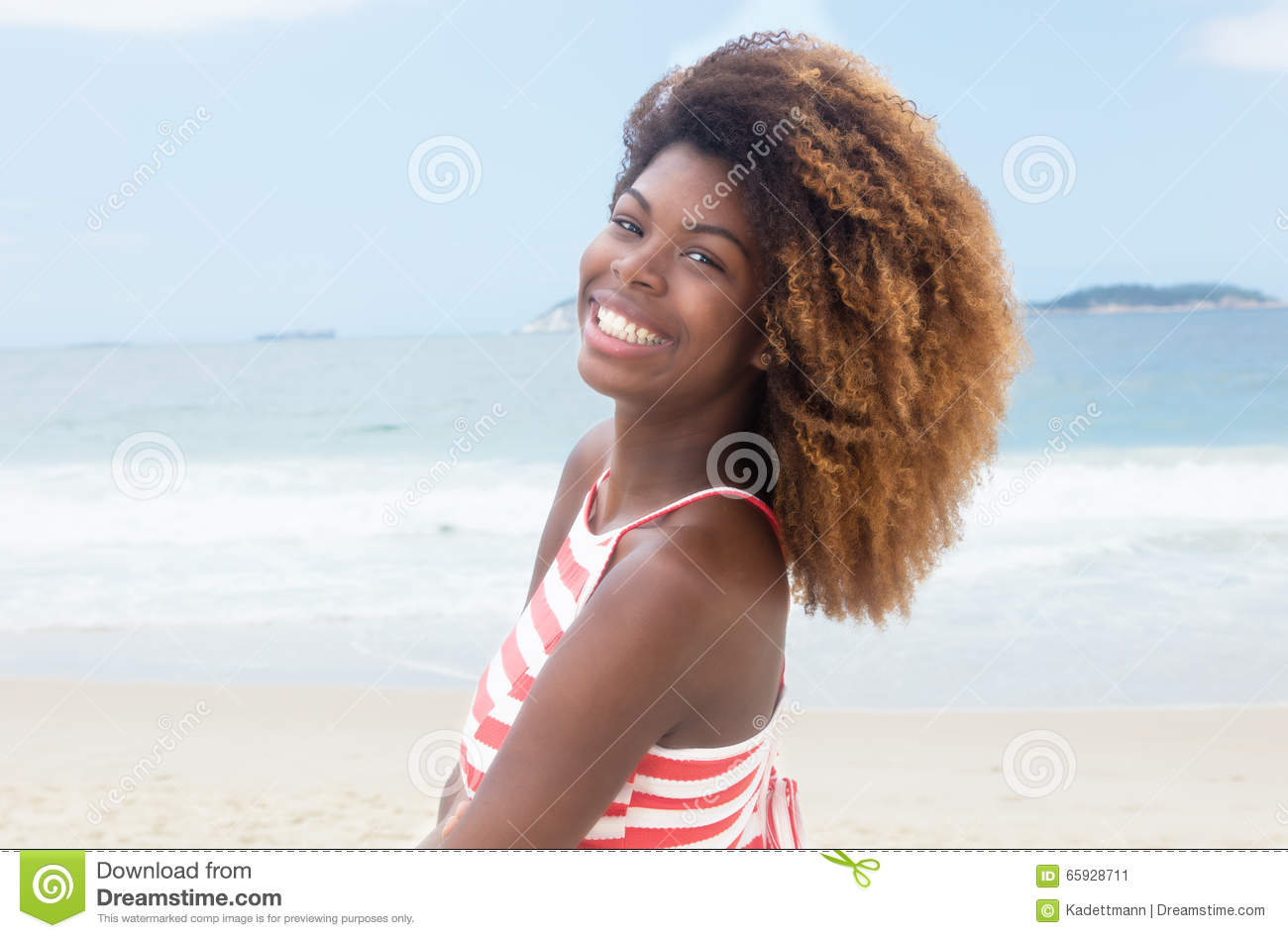 African American Girl With Crazy Hairstyle And Striped