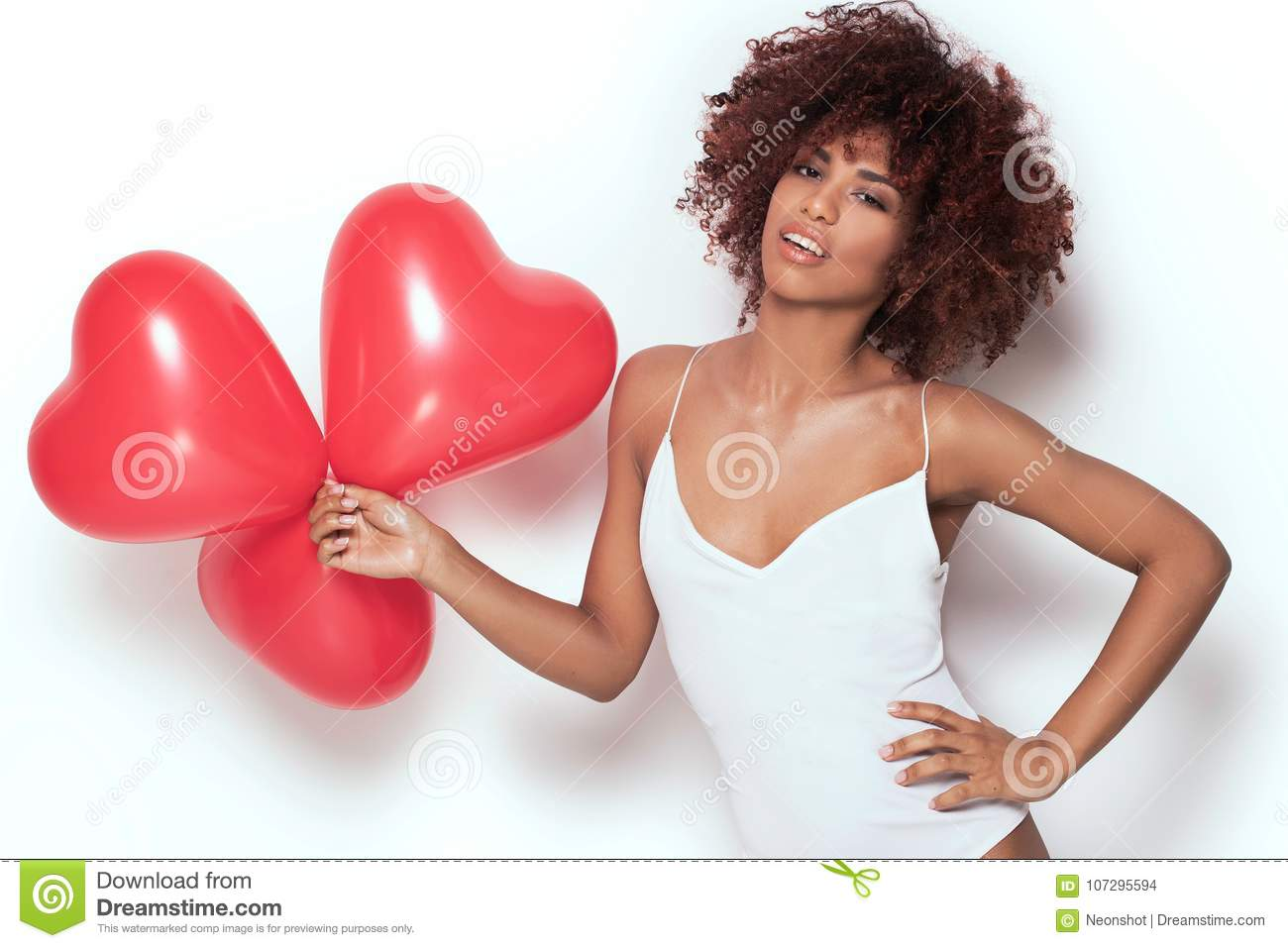 Download African American Girl With Heart Shaped Baloons. Stock Photo - Image of hairstyle, makeup: 107295594