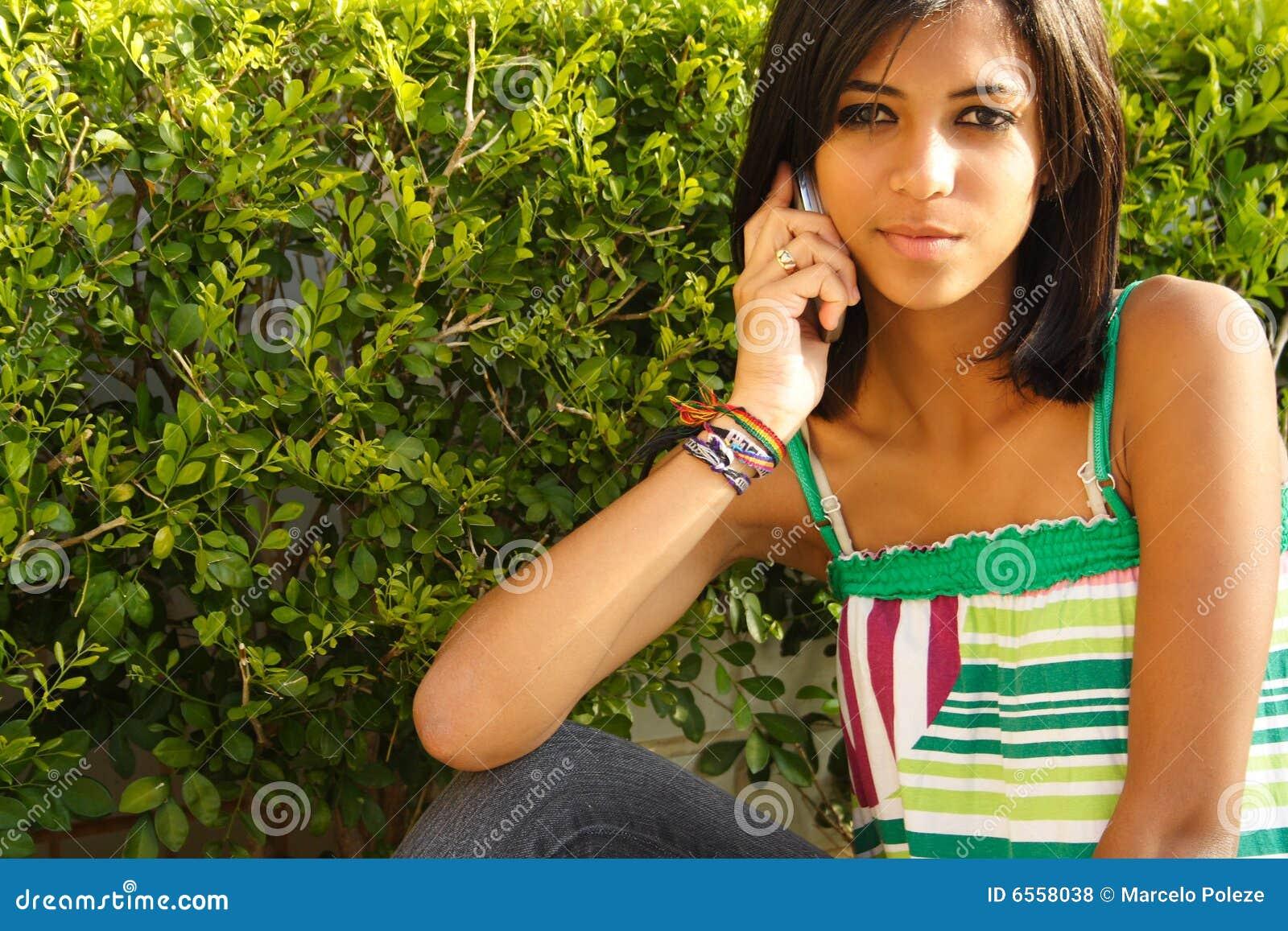 African american girl on phone