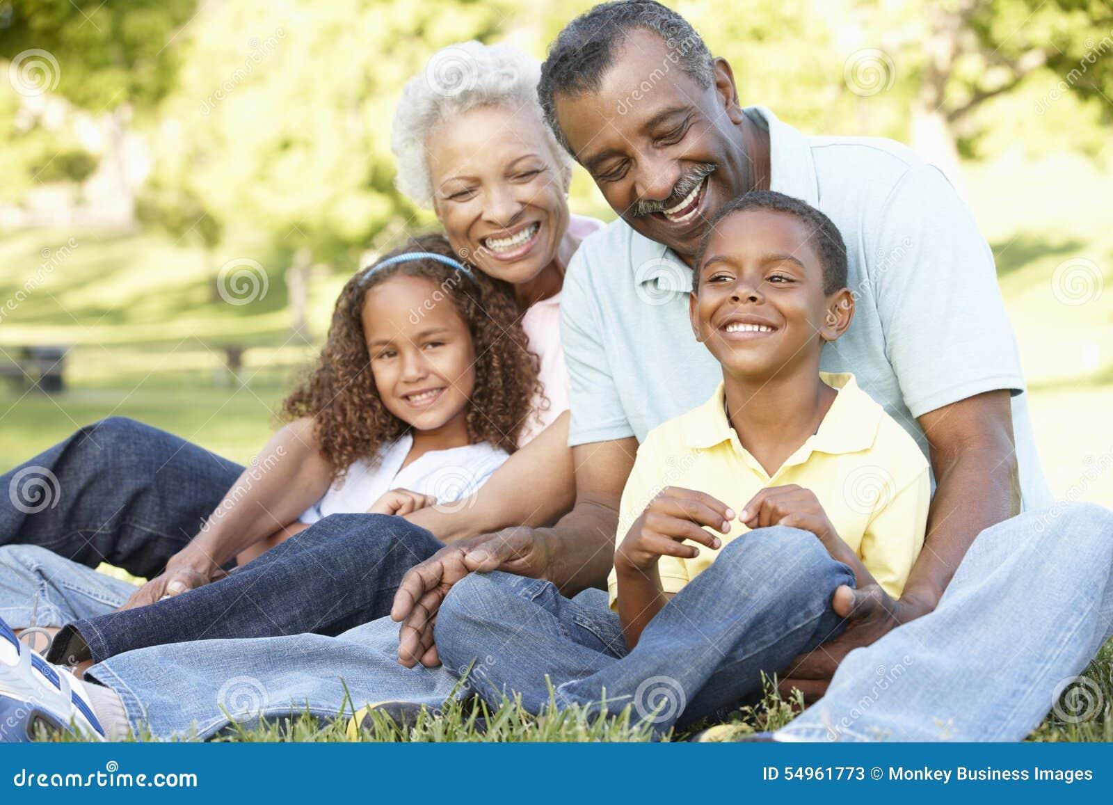 Download African American Grandparents With Grandchildren Relaxing In Park Stock Image - Image of grandchildren, children: 54961773