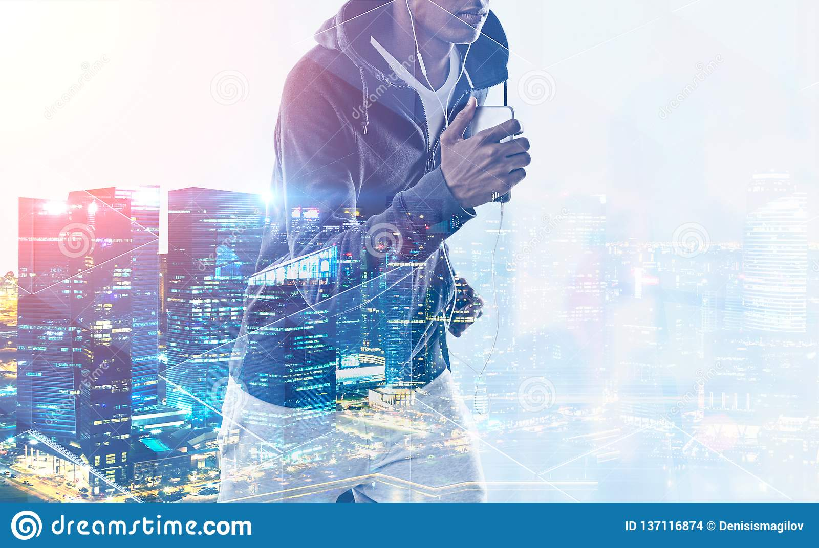 African American Jogger In Night City Stock Photo Image Of Music