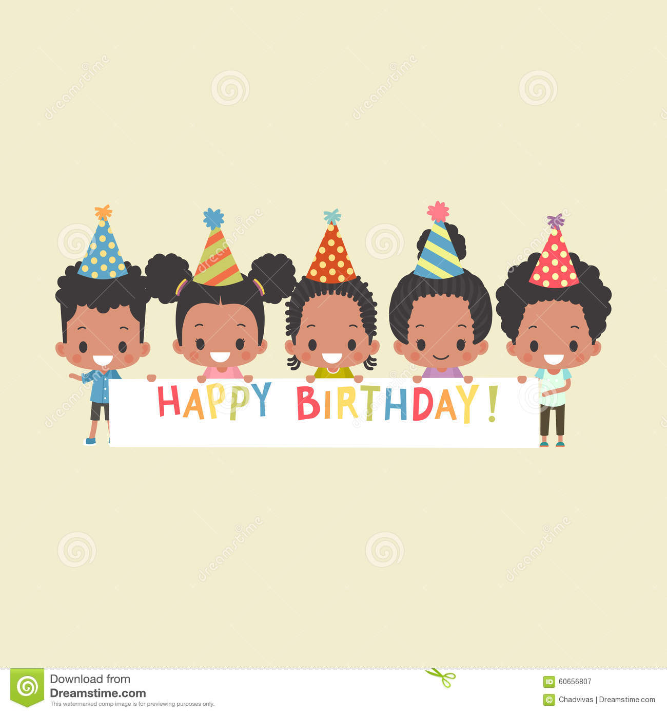 African american kids happy birthday banner stock vector african american kids happy birthday banner kristyandbryce Image collections