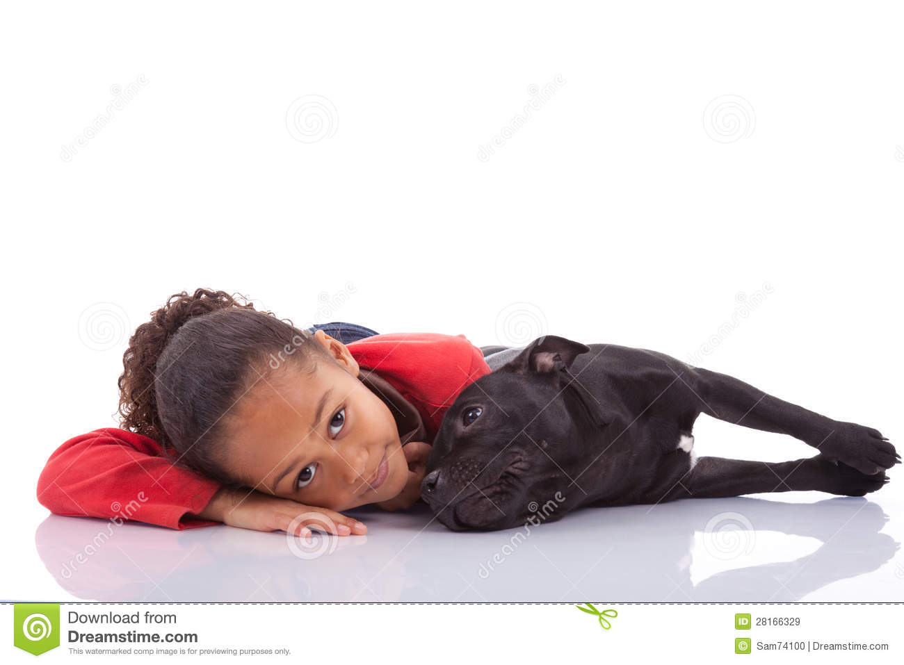 African American little girl with her pet