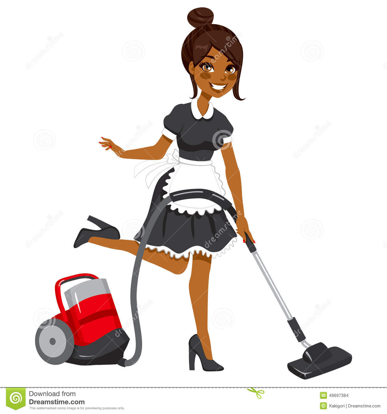 African American Maid Vacuum Cleaner Stock Vector Image