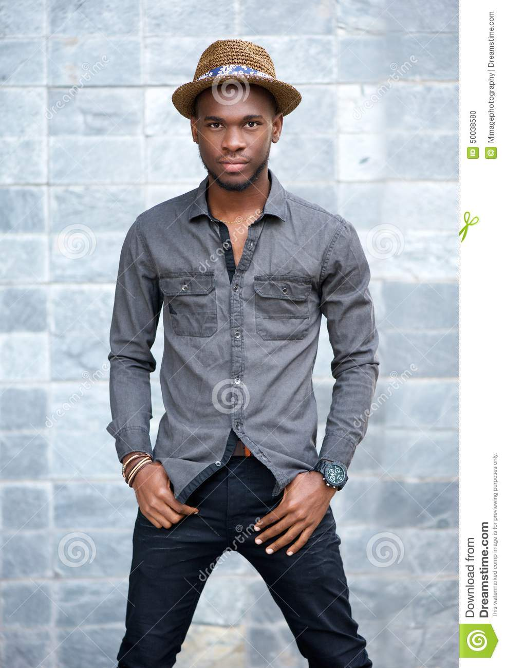 African American Male Fashion Model With Hat Stock Photo Image Of Modern Attractive 50038580