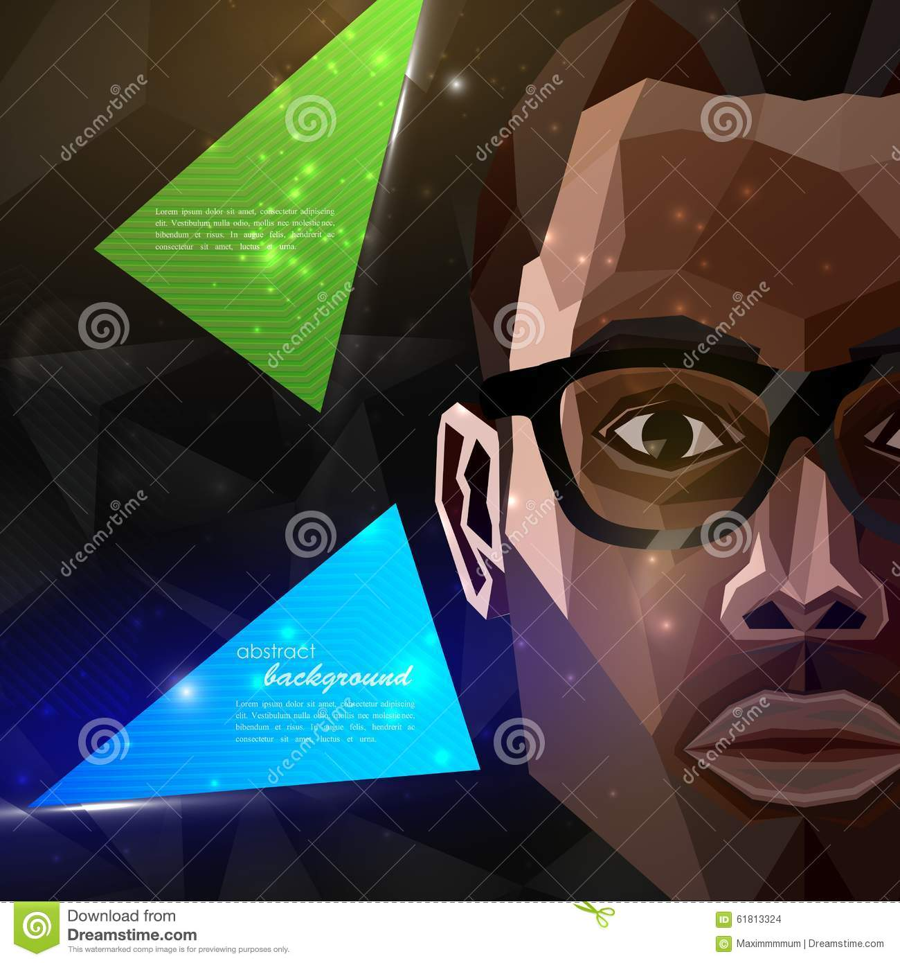African american man face in polygonal style. modern poster, flyer with fashion, beauty or entertainment concept