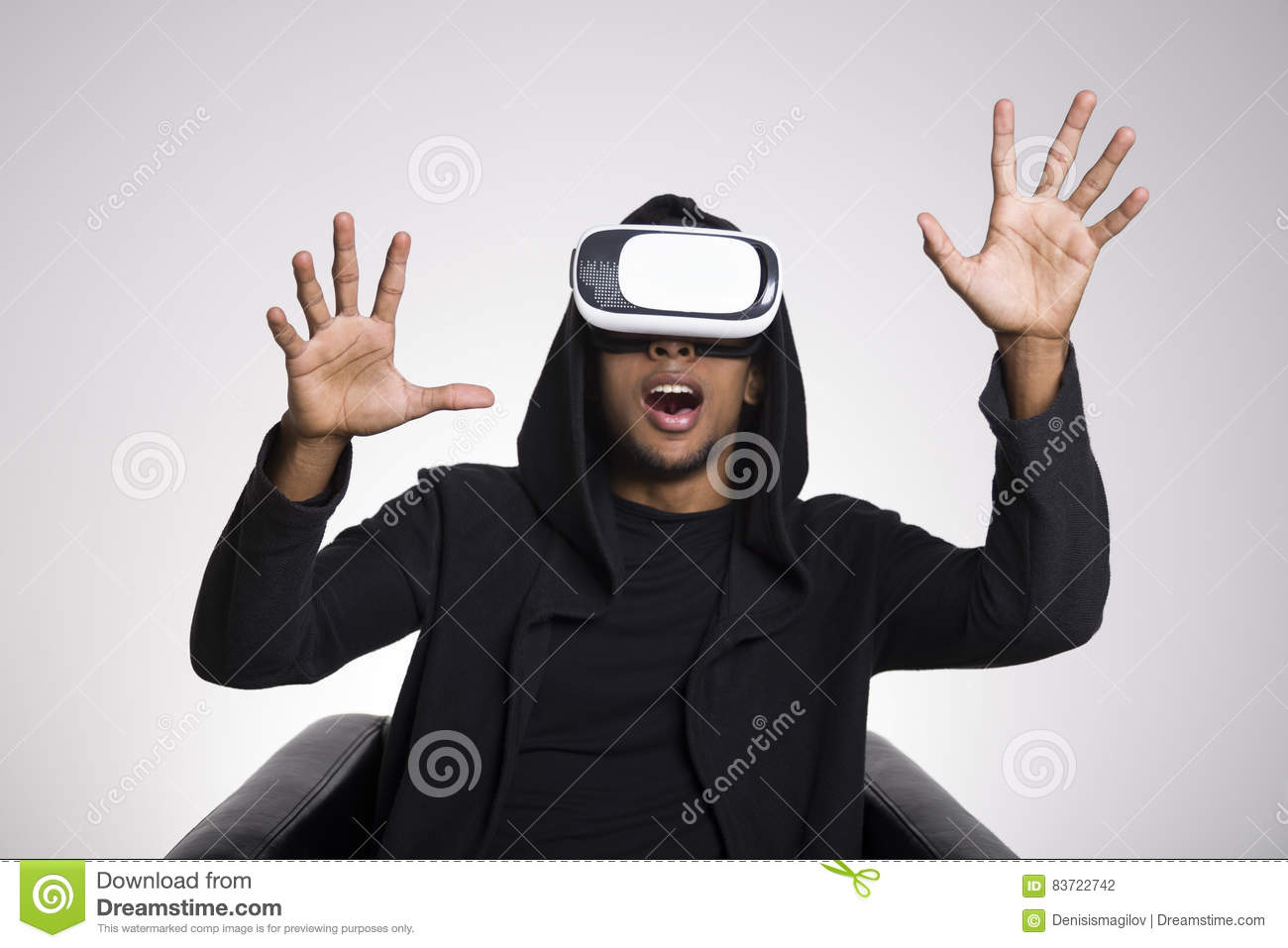 African American Man Playing Vr Game Stock Photo