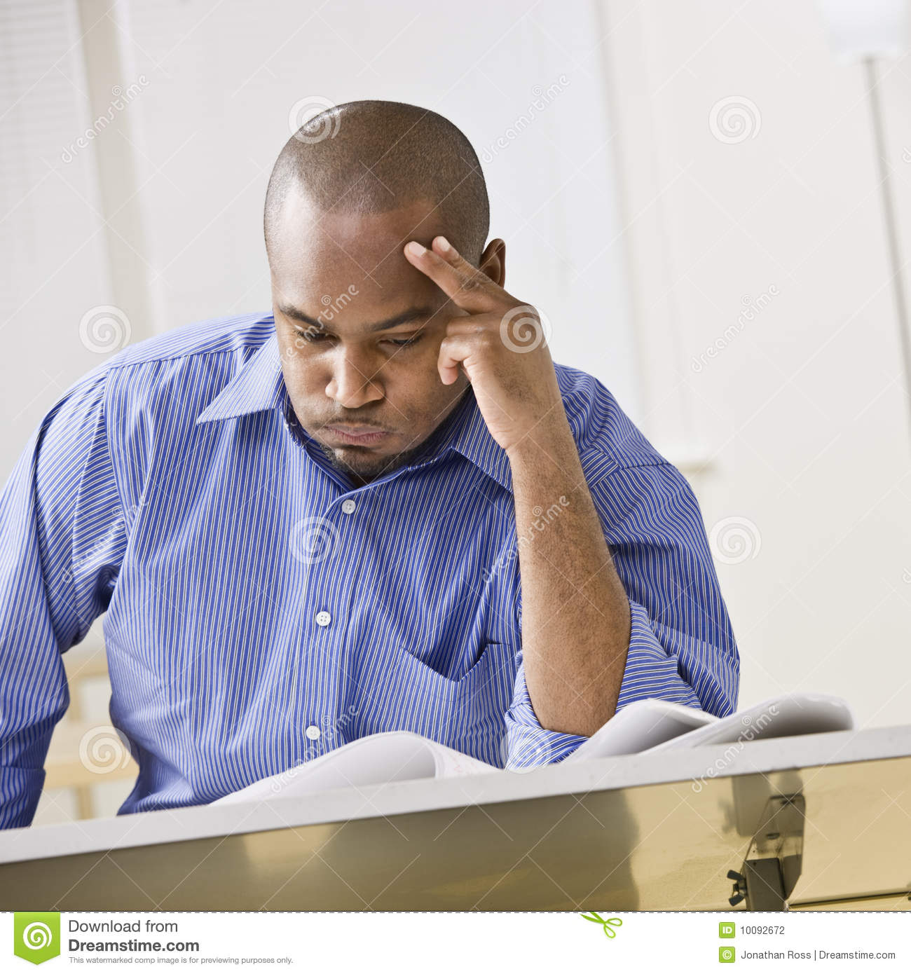 African American Man Studying Stock Photography Image