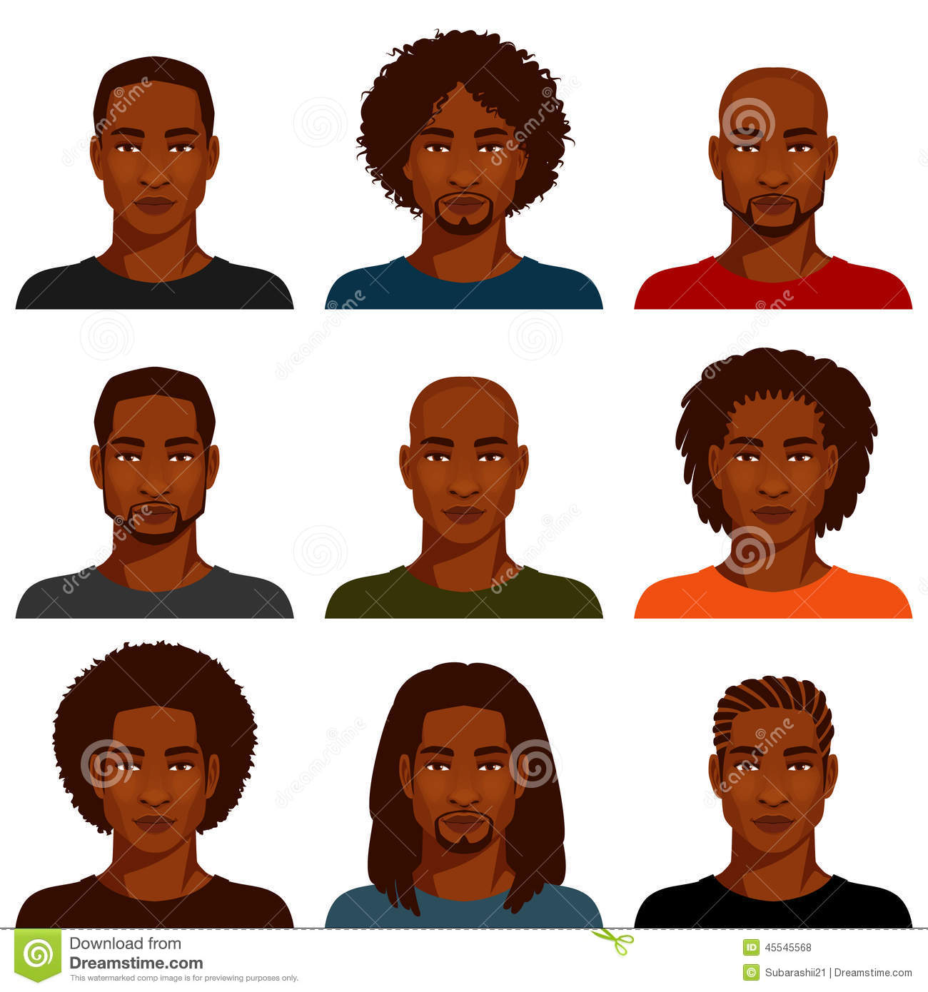 African American Men With Various Hairstyle Stock Vector