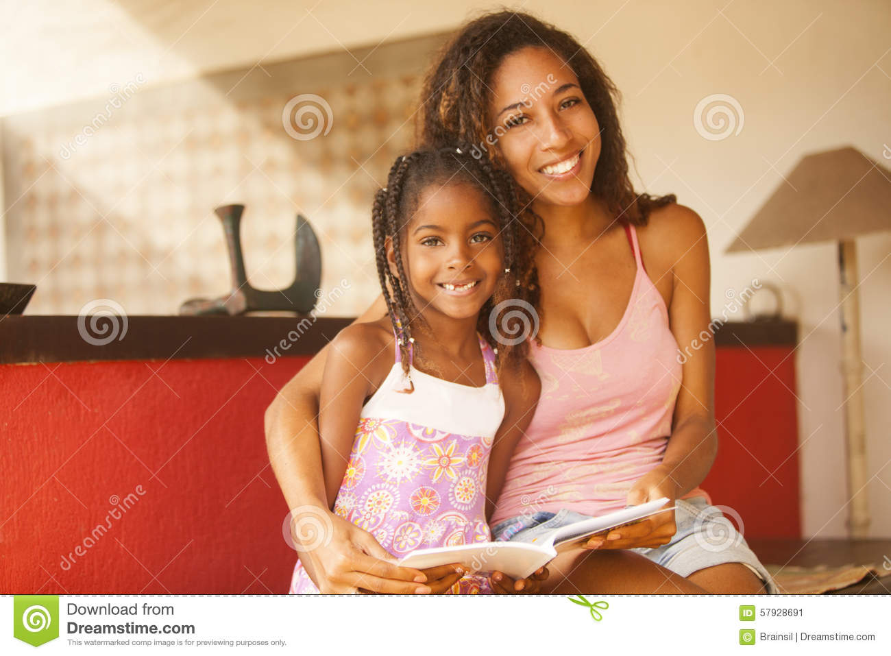 African American Mother And Daughter Studying Stock Image ...