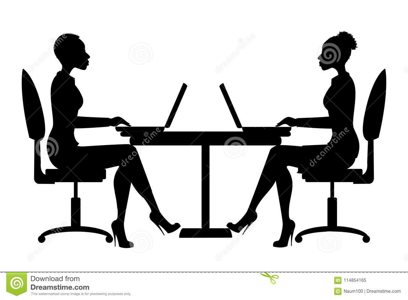 Strange African American Office Workers Silhouette Or Business Woman Machost Co Dining Chair Design Ideas Machostcouk