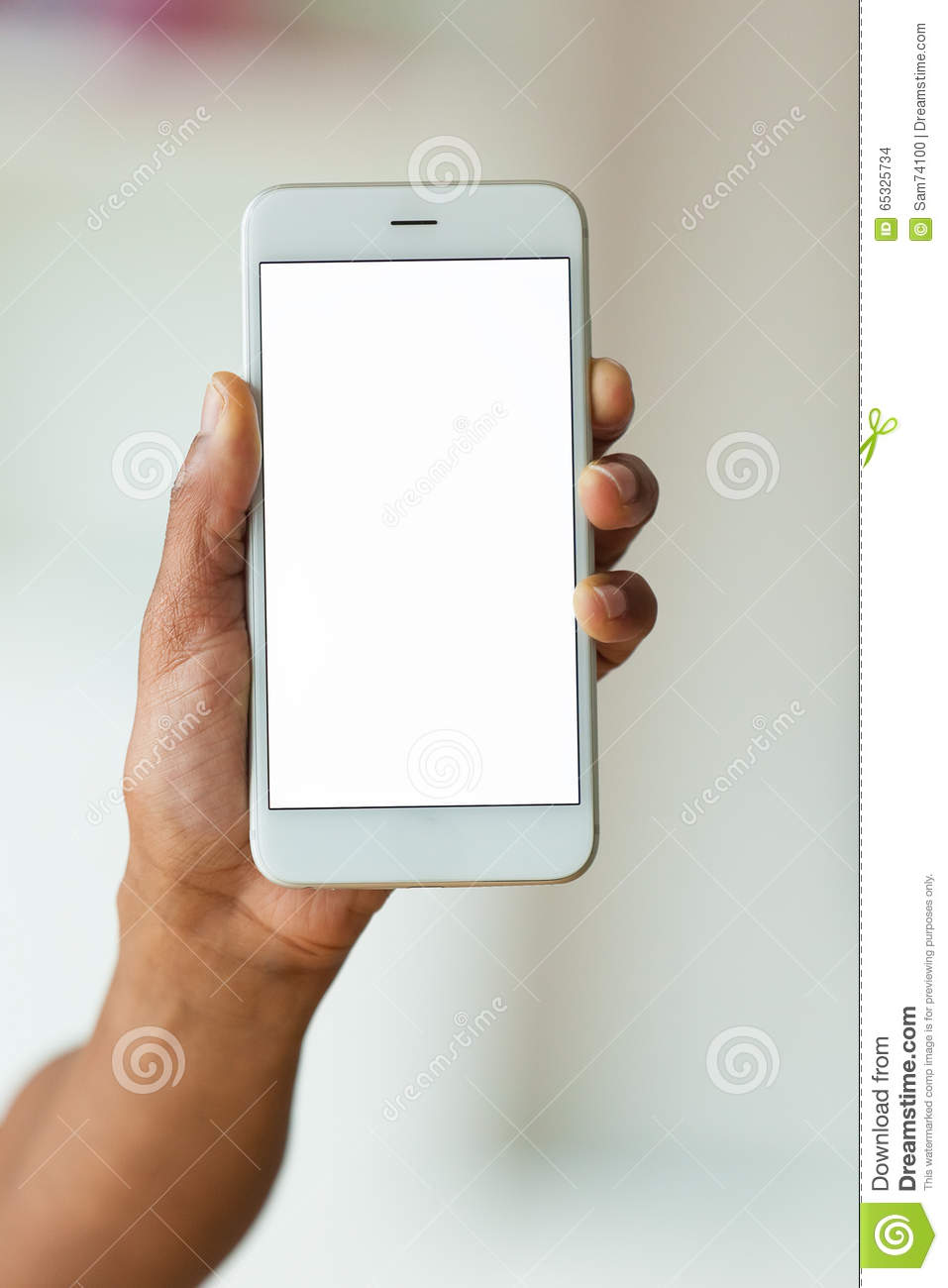African american person holding a tactile mobile smartphone - Bl