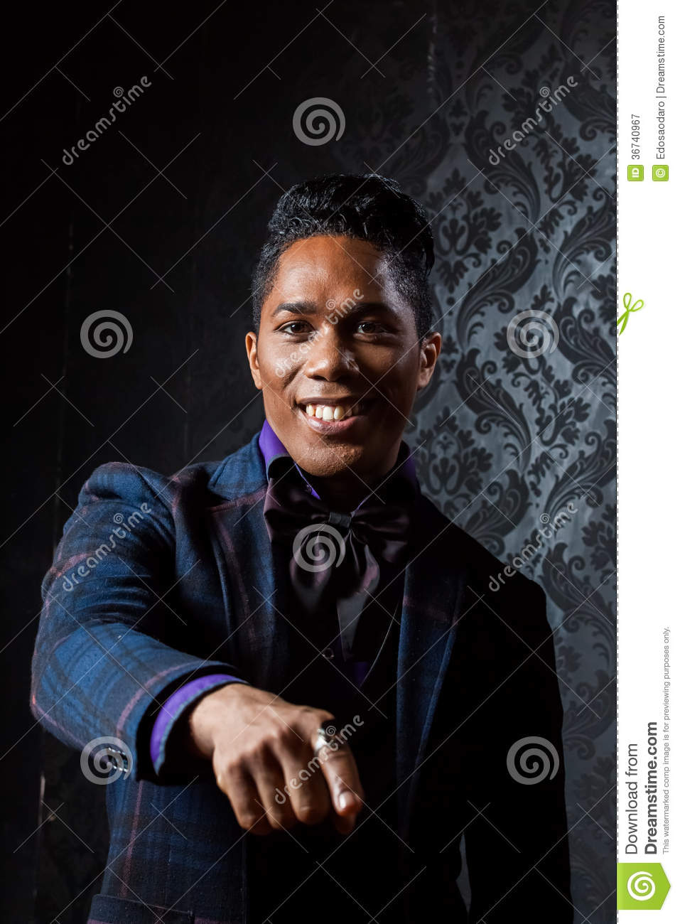 African American Pointing Smiling