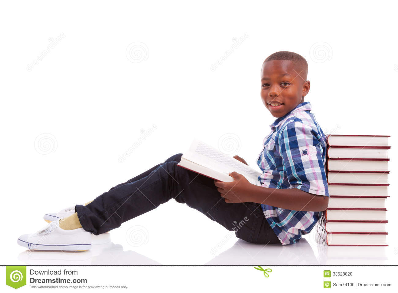 Download African American School Boy Reading A Book - Black People Stock Photo - Image of black, reading: 33628820