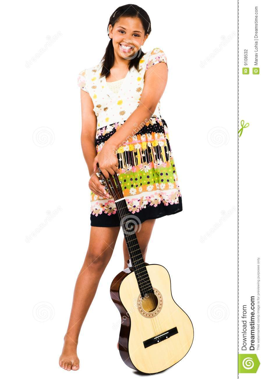 African-American Teen Girl Holding Flower. Stock Image.