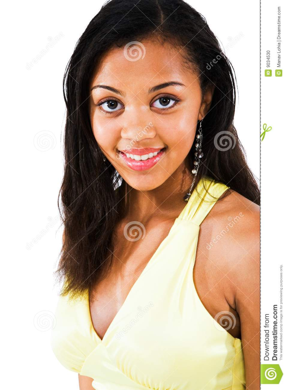 Portrait Smiling Africanamerican Teen Girl Holding