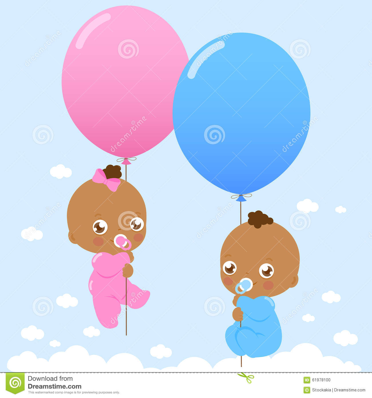 Vector illustration of cute newborn twin girl and boy black babies flying in the sky holding balloons
