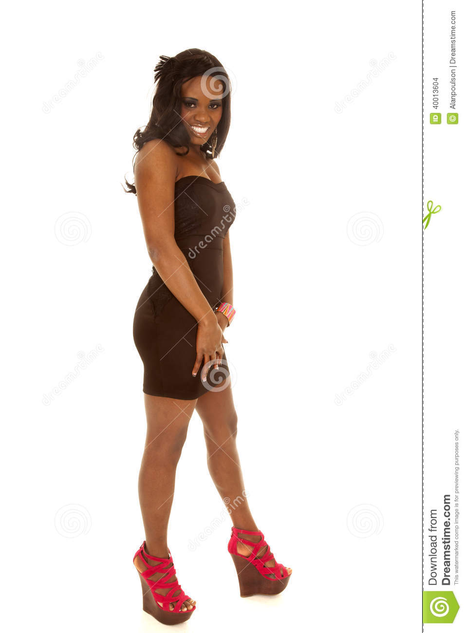 African American Woman Black Dress Red Shoes Stock Photo