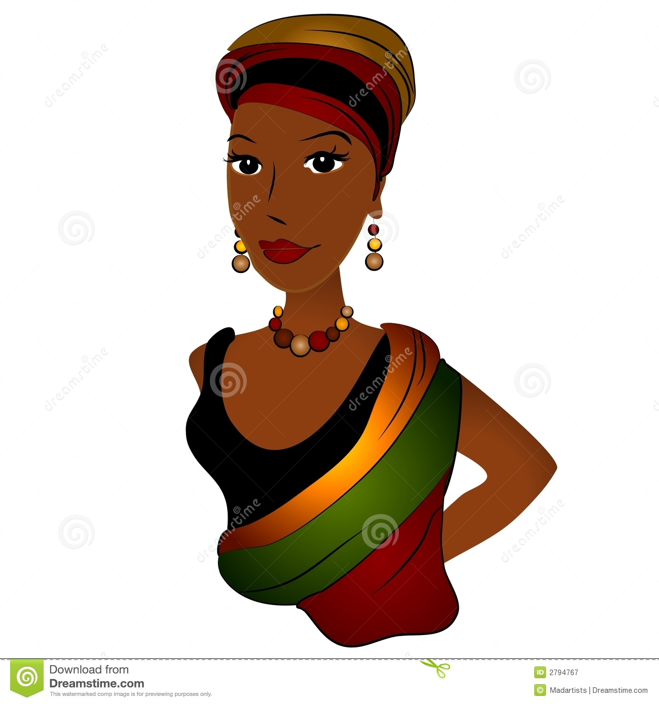 african american woman wearing african american fashions in rich